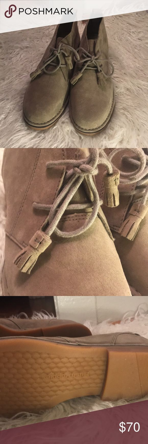 Hush puppies Suede Booties with Tassel Laces NWOT Hush Puppie Suede Tassle Booties 9.5. Never been worn! New without box. Taupe color. Hush Puppies Shoes Ankle Boots & Booties