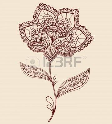 Paisley y flores de Henna Mehndi abstracta de encaje mano Doodle elemento de dise�o de la ilustraci�n vectorial photo