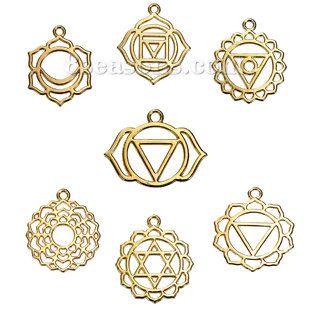 "Wholesale - Zinc Based Alloy Chakra Pendants Flower Gold Plated Mixed Hollow 31mm(1 2/8"") x 28mm(1 1/8"") - 29mm x23mm(1 1/8"" x 7/8""), 7 PCs - #8seasons - #Deals - #Discount"