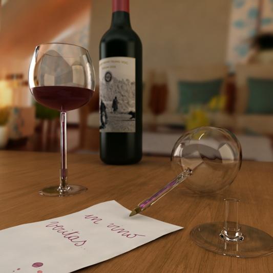 Calici da vino  Anno: 2008  Raccolta di pensieri, provocazioni, giochi di parole sui calici da vino.  Nell'ordine: BICchiere, gioco di parole con la celebre penna a sfera, che costituisce lo stelo del calice. In Vino Veritas, che custodisce un refill di inchiostro rosso all'interno dello stelo, utilr per appuntare i pensieri che sopraggiungono dopo aver bevuto. Uain, calice da vino a stelo lungo, pensato per gli aperitivi all'aperto, quando non si ha un piano su cui poggiare il bicchiere.