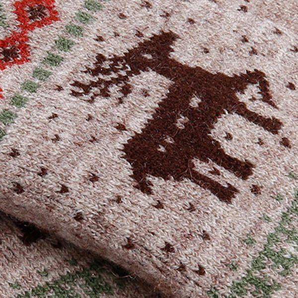 Women Girls Winter Crochet Knitted Warm Gloves Touch Screen Cute Deer Printing Mittens at Banggood