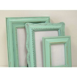 mint green picture frame  Room colors: gray, mint green and wine
