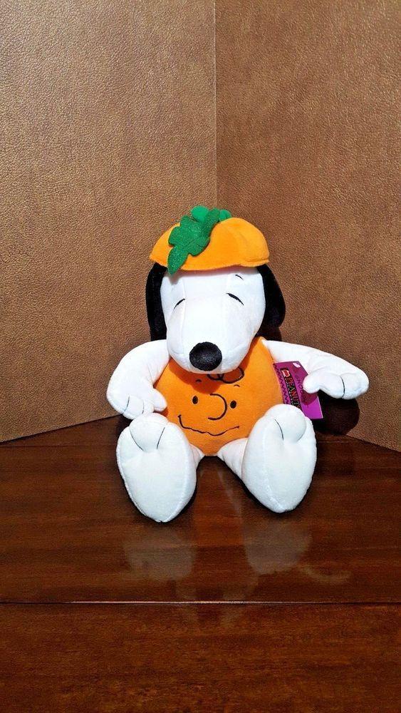 "Hallmark Peanuts Snoopy Plush Stuffed Animal As Charlie Brown Pumpkin 14"""