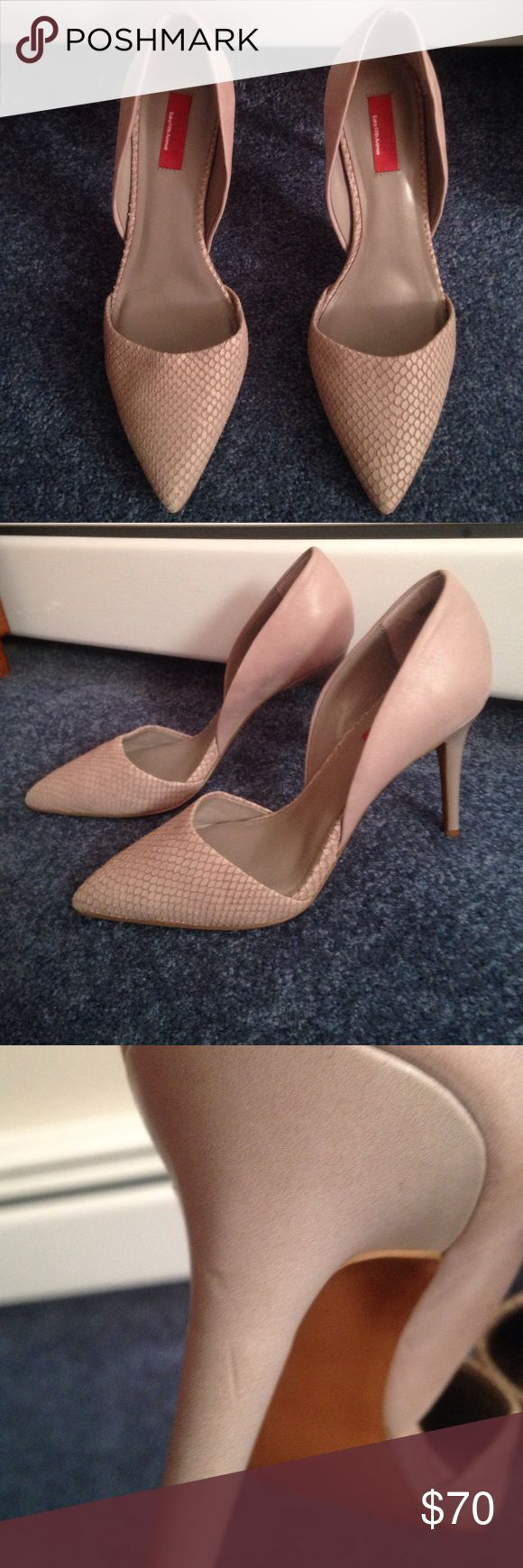 """Taupe Saks RED Elisa pointy toe pumps Super chic taupe-grey (color says Ash) Elisa pointed toe pumps from Saks Fifth Avenue RED. 4"""" heel, leather upper. Size 39 1/2. Can be paired with a dress, skirt, or boyfriend jeans! Never worn, small scuff on back of left heel that was there when bought. Love these shoes, but they're too big for me. Saks Fifth Avenue Shoes Heels"""