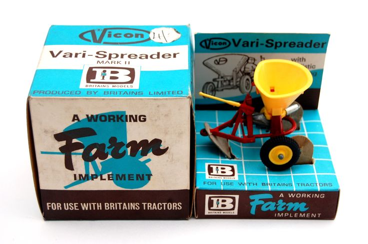Vintage Toys Wanted by the-toy-exchange- Boxed BRITAINS Toys Cat No.9538 VICON Vari-Spreader MK II farm implement.