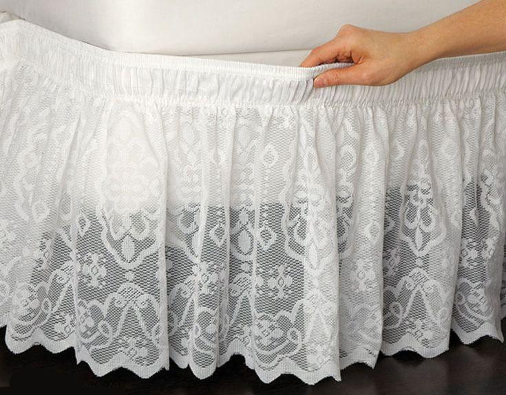 """Купить товарКружева подстриженные кровать обернуть с оборками кровать юбка кот / белая королева / король легко подходят стрейч кровать юбке с 14.5 """" капля бесплатная доставка в категории Кроватные подзорына AliExpress.                 Кружева подстриженные кровать Wrap рябить кровать юбка              Материал:       10"""