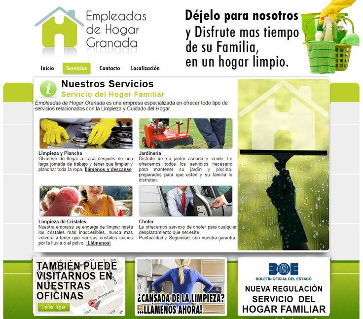 Diseño y desarrollo web, como parte de la identidad corporativa de la empresa, para Empleadas de Hogar Granada