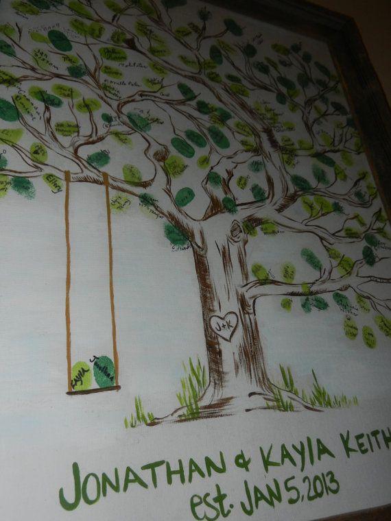 Fingerprint Wedding Guest Book Tree by BreelyndsRose on Etsy, $50.00