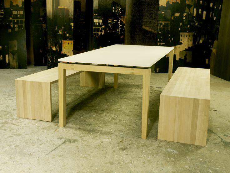 Gavlbænk.  LINO bord. Kan kundetilpasses og der er mulighed for tillægsplader.