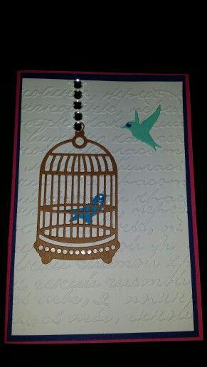 Birthday card with a birdcage and birds.
