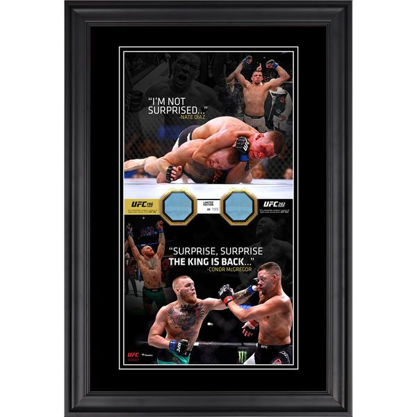 """Nate Diaz,Conor McGregor Ultimate Fighting Championship Fanatics Authentic Framed 10"""" x 18"""" Vertical Photo Collage with Pieces of Match-Used Canvas from UFC 196 and UFC 202 - Limited Edition of 199 - $129.99"""