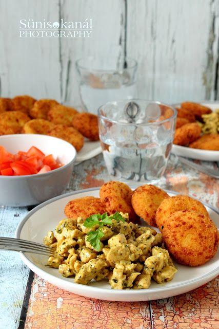 Sünis kanál: Currys-korianderes csirke kölespogácsával | kölespogácsa: #ebéd #sósebéd #kölespogácsa #köles #tojás #sajt #tönkölybúzaliszt #morzsa #zsemlemorzsa #olaj #tejmentes #tejtermékmentes #süniskanál #köret