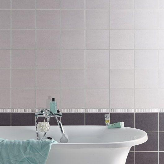 Carrelage mural fly a ro aero en fa ence gris moyen 20 x for Faience salle de bain gris