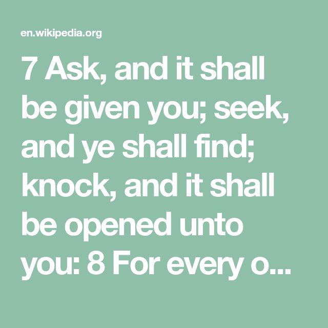 seek and you shall find neglect Seek and you shall find.