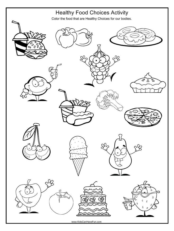 Pin On Crafts For Kids Coloring food worksheet for kindergarten