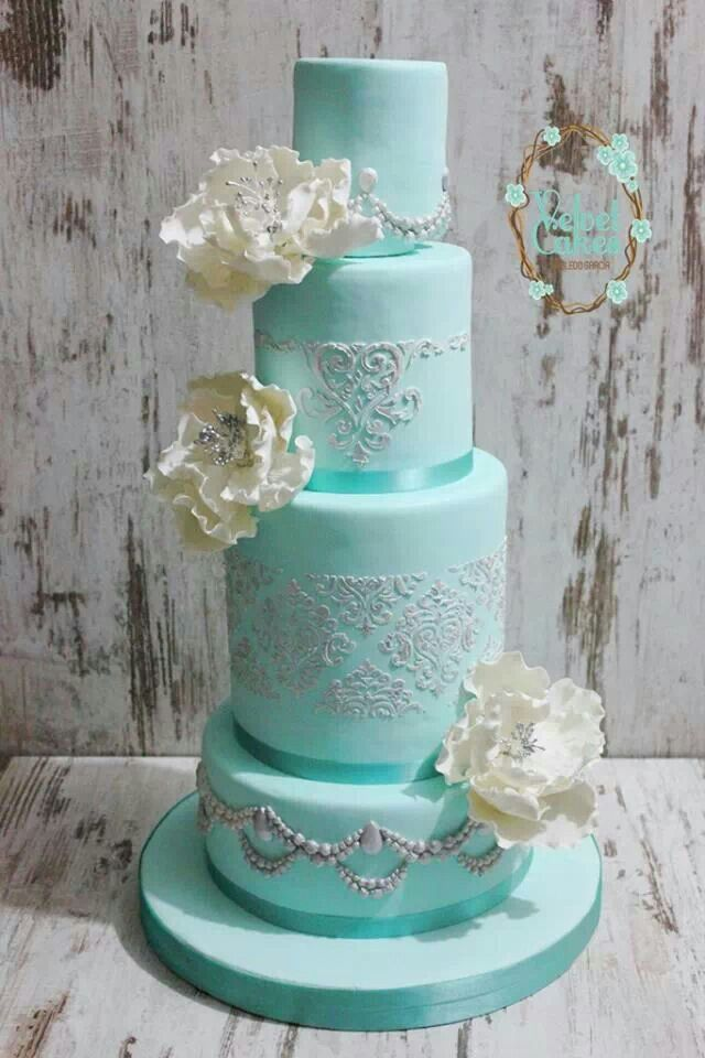 turquoise blue and white wedding cakes aqua white and silver tiered cake gumpaste peonies 21306