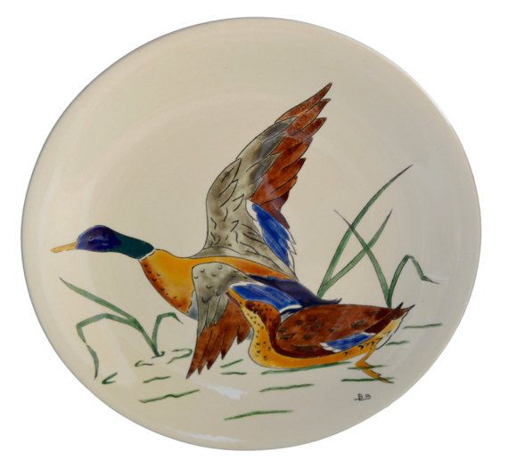 Antique French Gien Majolica Plate - Pair Of Duck - Hand Painted Dinner Plates - Decorative Wall Bird Plate - French Country Cottage