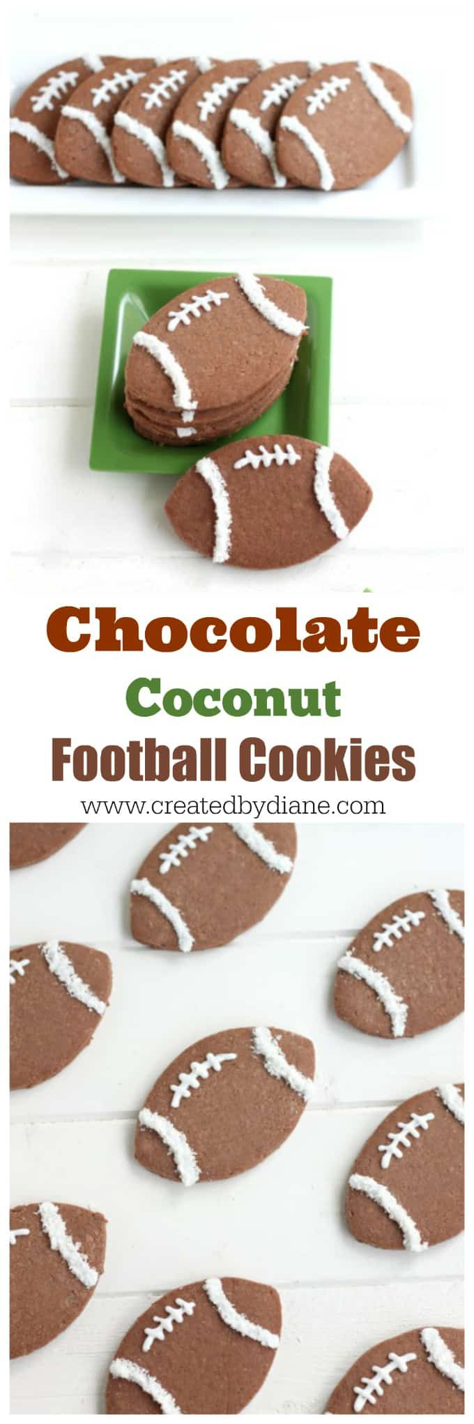 chocolate coconut FOOTBALL Cookies www.createdbydi…Edit description