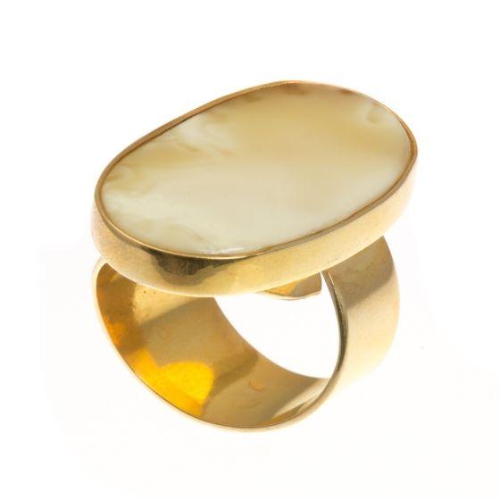 Aranyozott ezüst gyűrű borostyán kővel /76480/