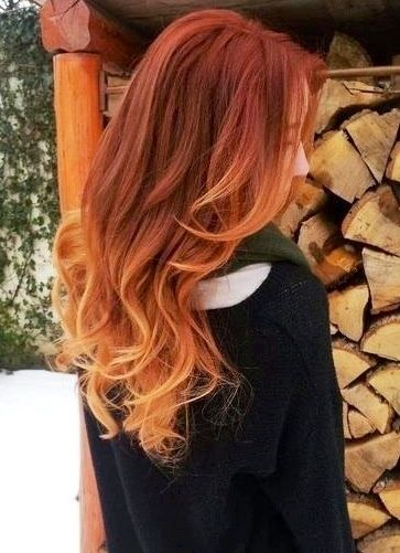 Nice brown red ombre hair color to blonde, wonderful wavy hairstyle, really