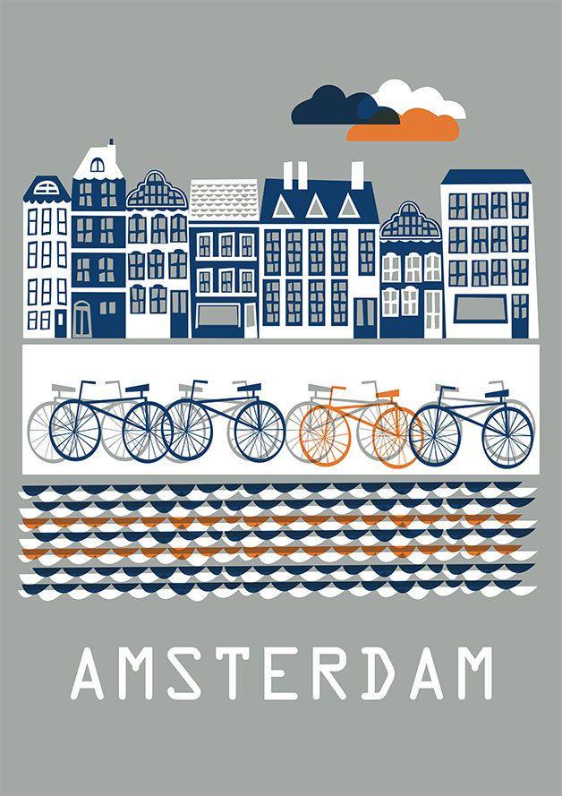 Das Amsterdam Poster von DORO Illustrations.  Größe: 50 x 70 cm  Das Poster wird gerollt in einer Kartonverpackung versendet.