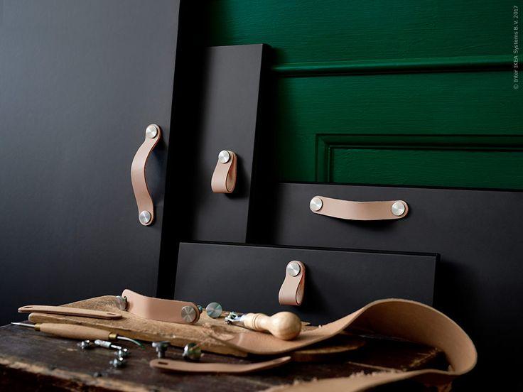 ÖSTERNÄS fina läderhandtag kommer i två storlekar och står emot väta vilket gör den perfekt för både kök och badrum.