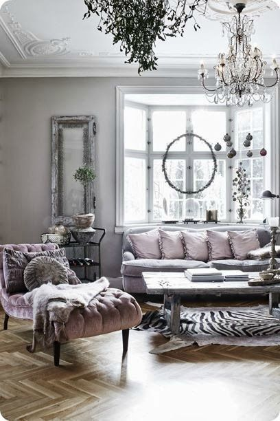 Love the hues of gray and lavender.  Lots of various textures make this room very inviting and luxurious at the same time.  Love it!