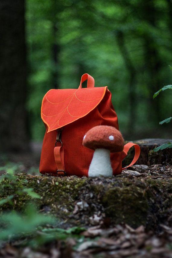 Leaf Mini Backpack, Orange Woman's Rucksack, Waterproof Festival Backpack,Hipster Backpack, Lightweight Rucksack, Cycling Bag, Boho Backpack