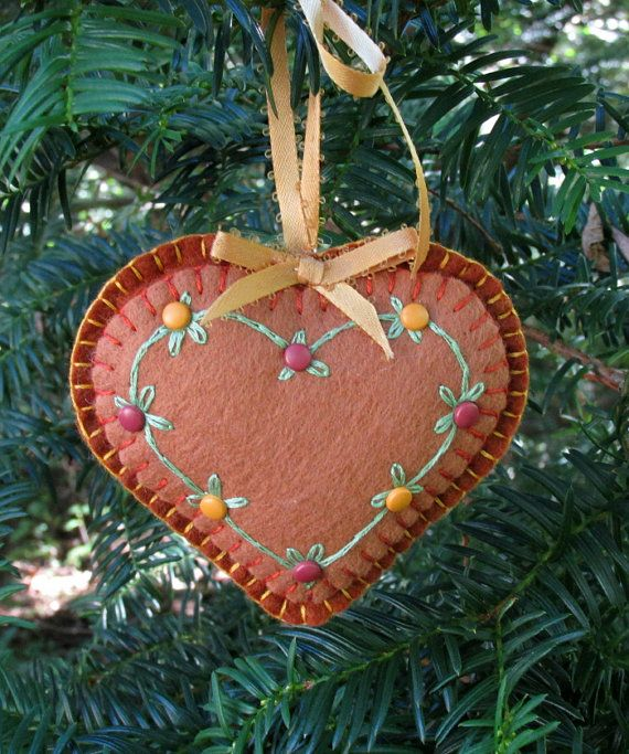 Wool Felt Embroidered Copper Heart Ornament by FHGoldDesigns, $7.00