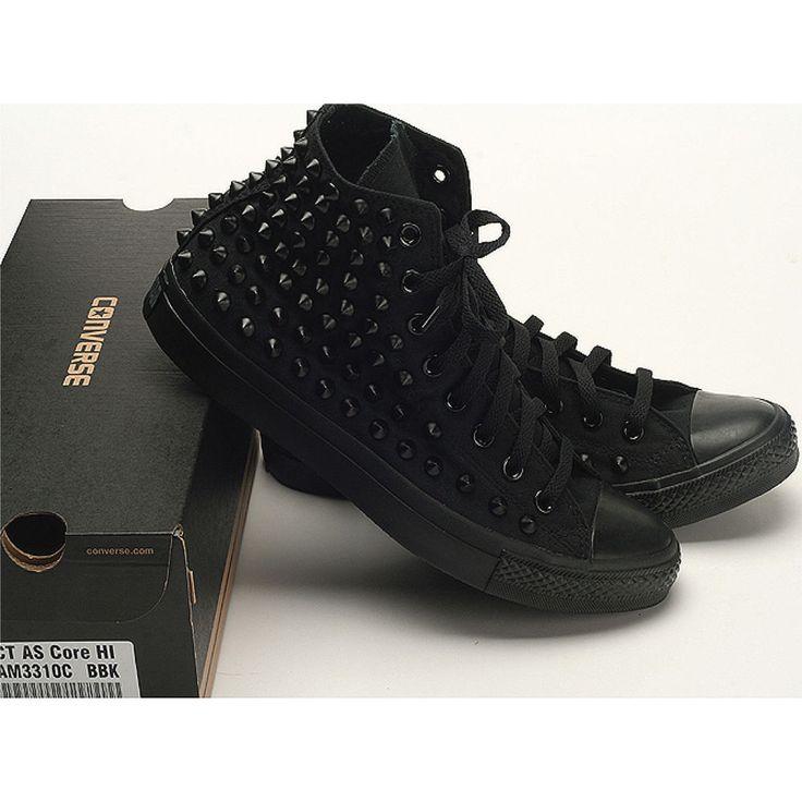 Stud Punk Rock Custom Genuine All-Black Converse High Black Spike Metal Sneakers