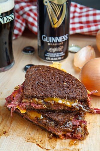 Corned Beef Grilled Cheese Sandwich Recipe w/ Guinness Caramelized Onions.
