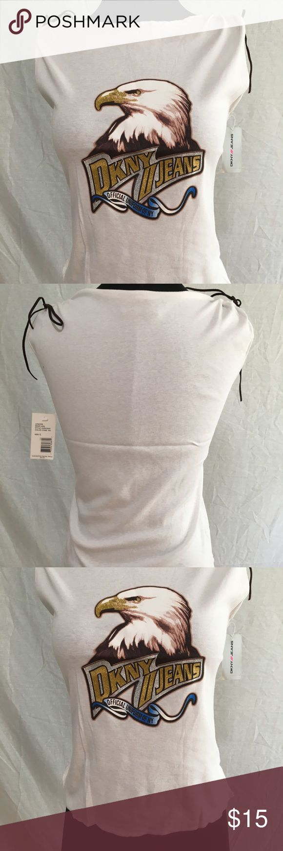 """DKNY Biker Girl Tank Top- new vintage DKNY JEANS Biker Girl Tank Top  New with tags  Style # KXRU3933 RN 52002 CA 16396  DKNY JEANS Biker Girl Tank Top is a great tank top to sport around in. From the graphic on the front to the brown """"suede"""" like """"shoe laces"""" by the shoulders that can be tied, you will look great and feel great in the one of a kind shirt. People will be sure to compliment you because this shirt is gorgeous and fun.  100% Cotton  Suggested Retail Price-$ 32.00 Dkny Tops Tank…"""
