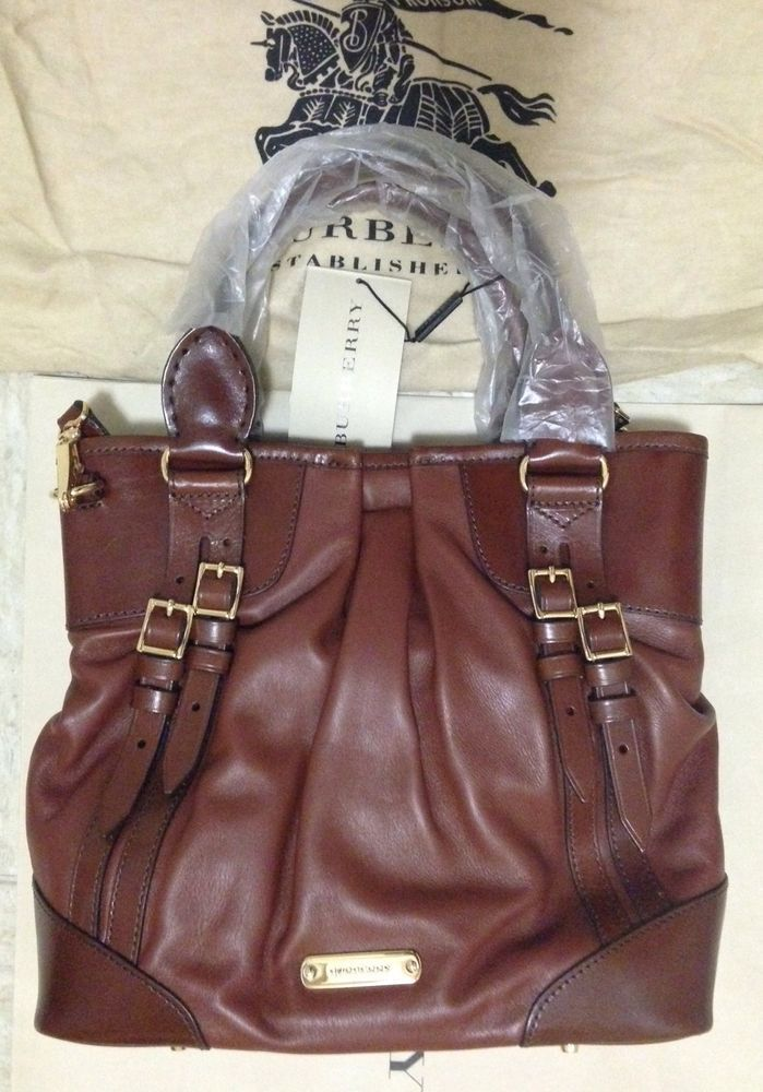 1495$ Burberry Leather Bridle Dark Tan Whipstitch Tote Italy Authentic NWT #Burberry #TotesShoppers