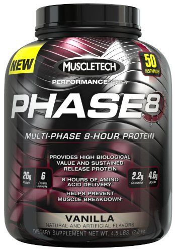 PHASE8™ is a premium blended fast medium and sustained-release protein formula that feeds your muscles for 8 hours. Each scoop contains an impressive 26-gram blend of milk-derived proteins that sup...