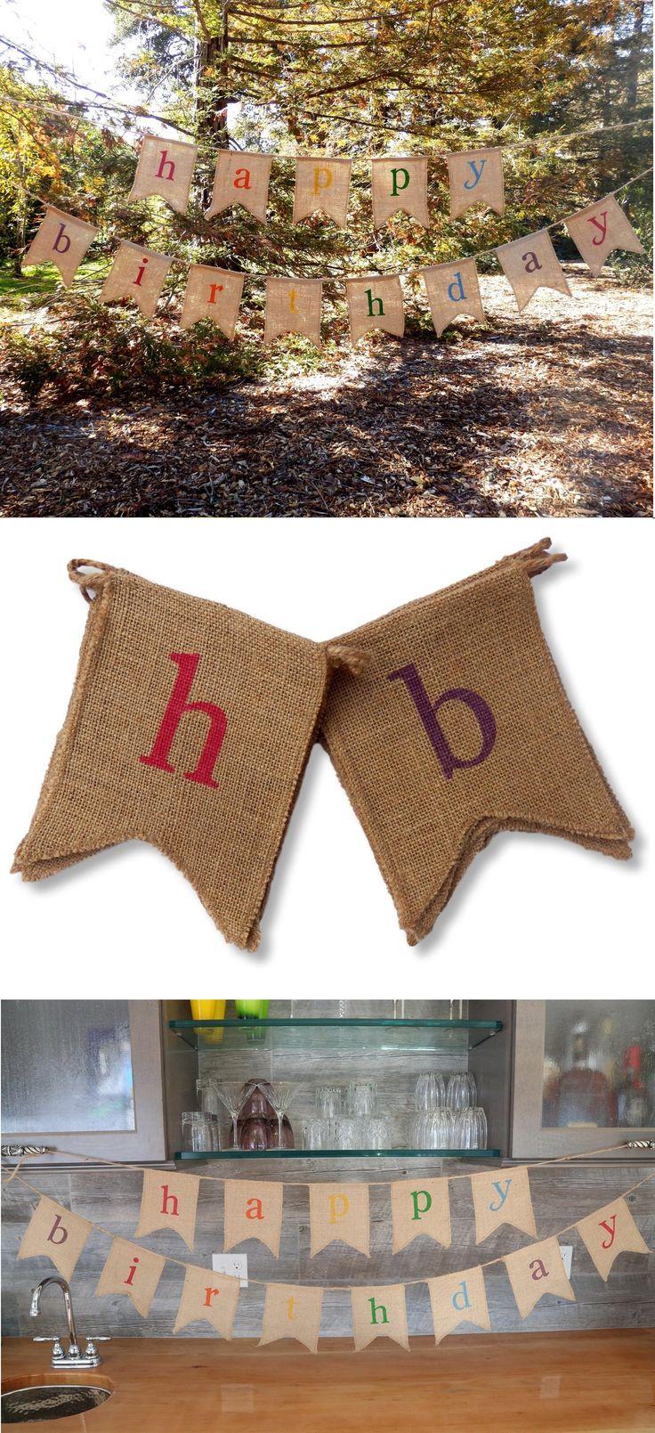 WINTER SALE! Celebrate another year of life with our rustic, birthday burlap banner.