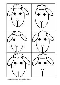 Dessine ce qui manque à chaque tête de mouton