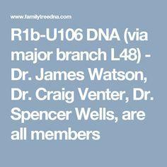 R1b-U106 DNA (via major branch L48) - Dr. James Watson, Dr. Craig Venter, Dr. Spencer Wells, are all members
