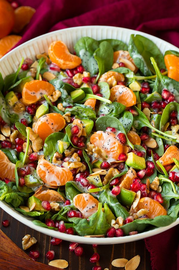 Mandarine Pomegranate Spinach Salad with Poppy Seed Dressing   Cooking Classy