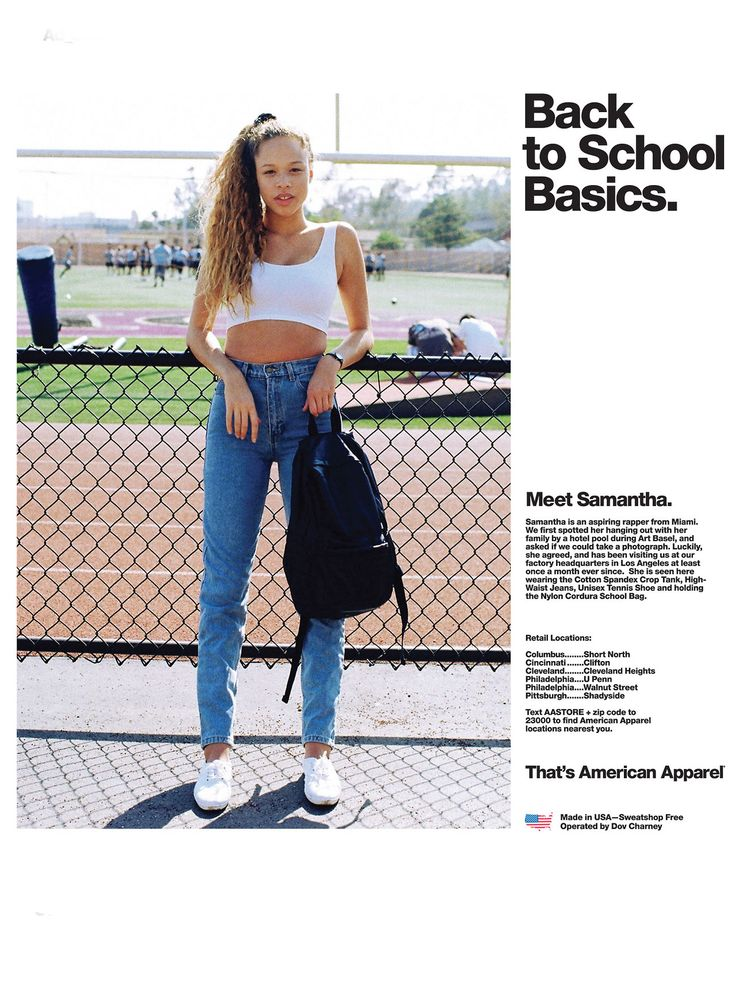 A Back To School ad by American Apparel featuring Samantha.