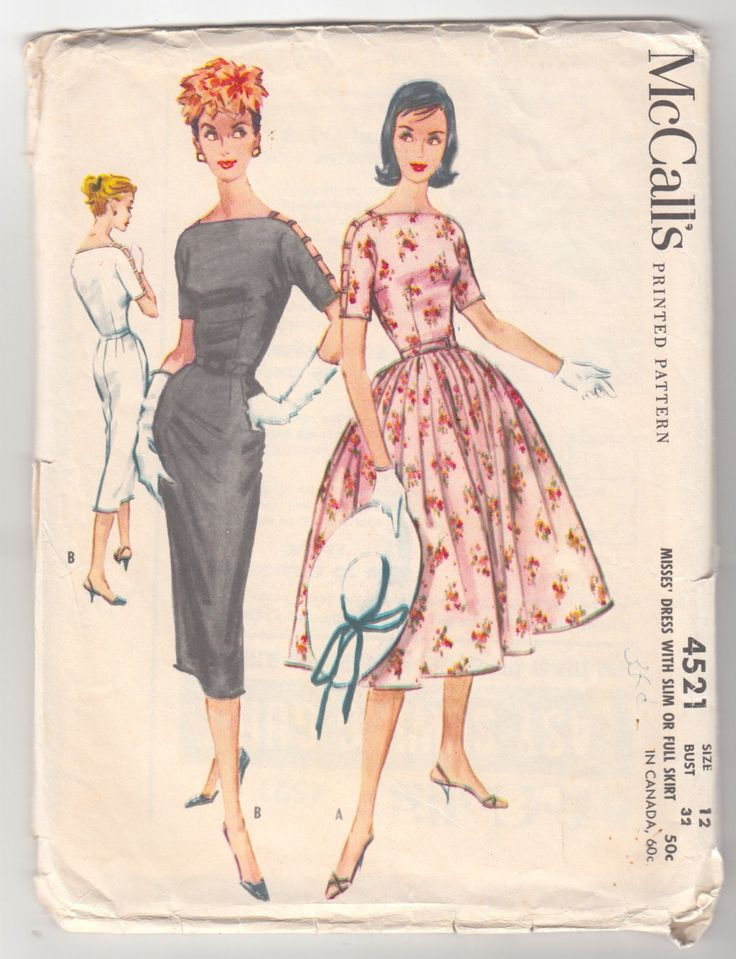 "Vintage Sewing Pattern Ladies Cocktail Dress McCall's 4521 32"" Bust Slim and Full Skirt 1950's. $39.00, via Etsy."