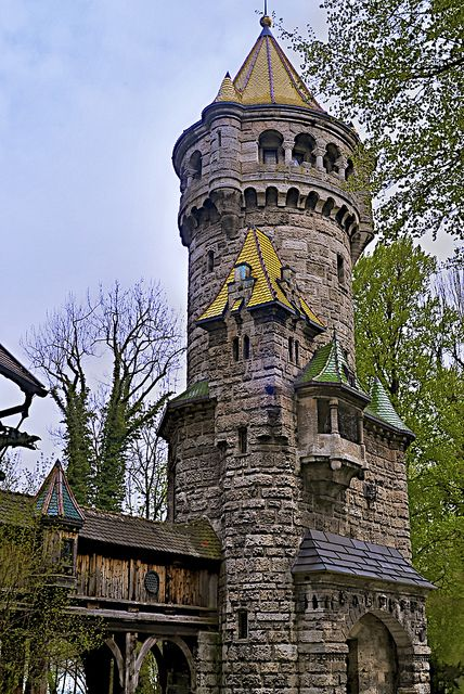 "The Mother tower in Landsberg, Bavaria, Germany - The 30 m high ""Mother's Tower'' was built by Hubert von Herkomer in 1884-1888, to honour his mother. aww!"