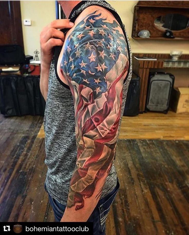 #Repost @bohemiantattooclub with @repostapp ・・・ American flag 3/4 sleeve in progress by @timothyboor! ...