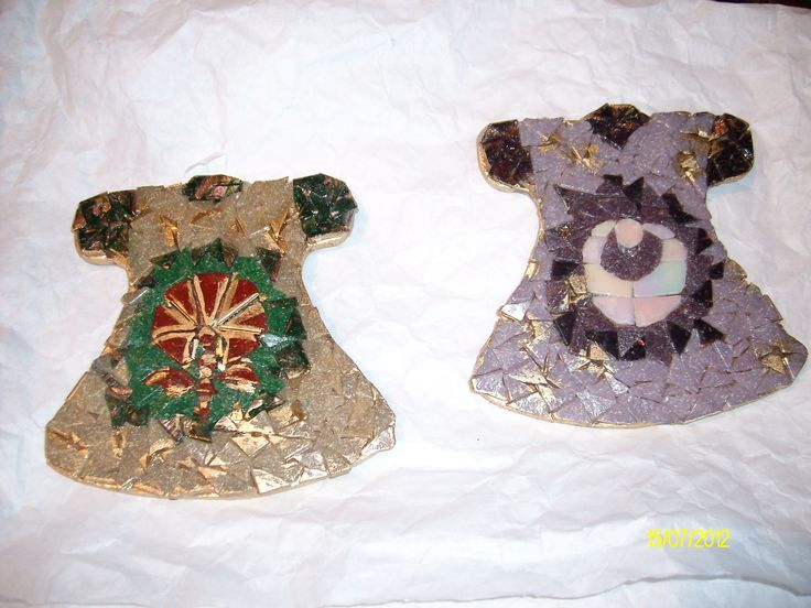 small mosaic Kaftans  without grout, painted gold my first works