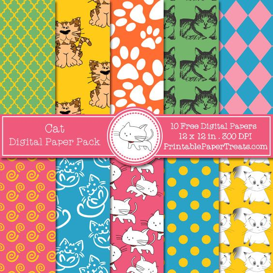 Free Cat Digital Papers Pack