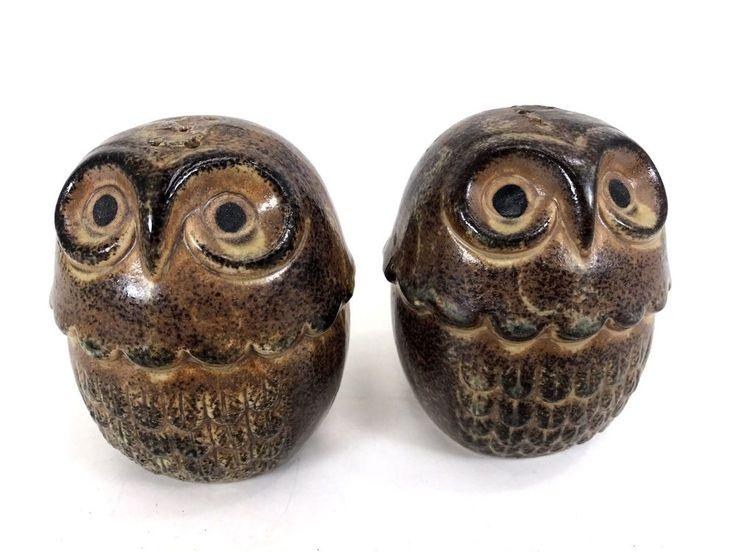 """Vtg Ceramic Viking OWL Salt & Pepper Shaker Set Brown 3.5"""" Retro Kitchen Birds"""