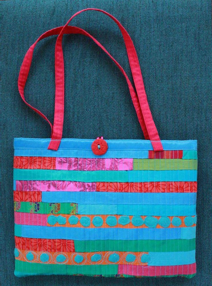 Judy Rogers Textiles Handbag  Textile Wearable Art Aqua orange/pink stripes $45-