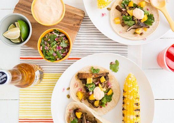 Beer-Marinated Grilled Mushroom Tacos with Pepita Relish  Chipotle Crema