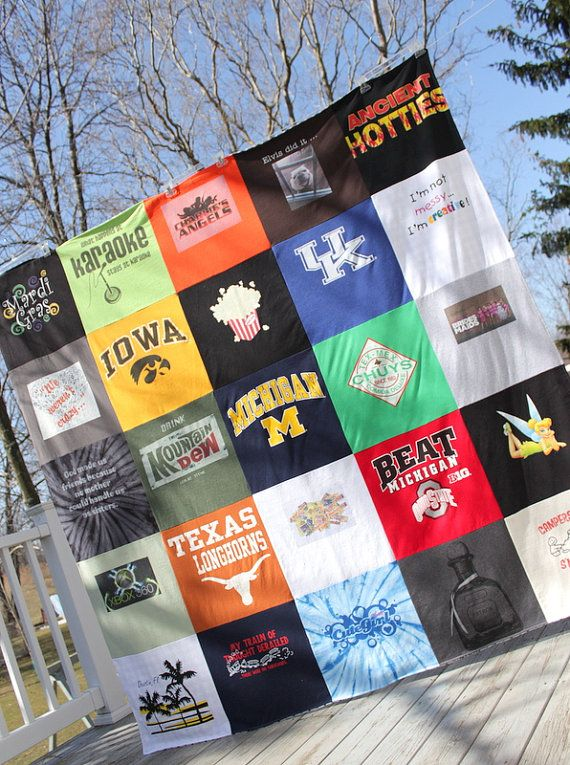 A custom T Shirt Memory Blanket that is as cozy as your favorite shirt! Thats because this quilt blanket is made with 25 of your favorite shirts!    I