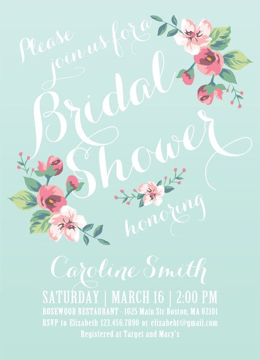 Printable Bridal Shower Invitation (mint background) - Vintage Floral Invitation - Spring/Summer Bridal Shower