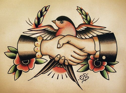 Sparrow Handshake Traditional Tattoo Flash. $14,99, via Etsy.
